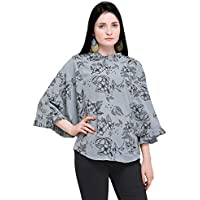 SYASII Women Beautiful Flared Sleeve Floral Printed Top (Large, Grey)
