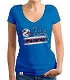 Shirtdepartment - Damen T-Shirt V-Ausschnitt - Pats - New England Royalblau-grau XL
