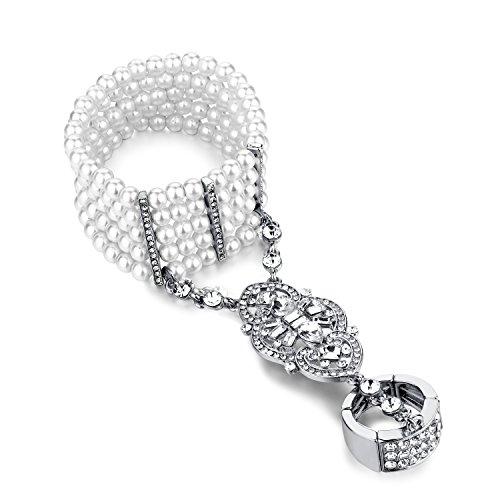 Babeyond Damen Ring Armband Set Retro 1920er Party Pailetten Perlen Verbunden Ring und Armband Inspiriert von The Great Gatsby Bling Mode Schmuck Silber