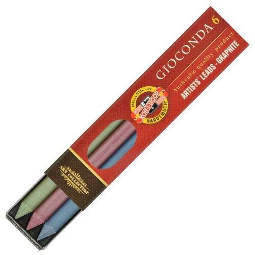 Koh-I-Noor 4380 - Juego de carboncillos (5,6 mm, 6 unidades), colores metálicos