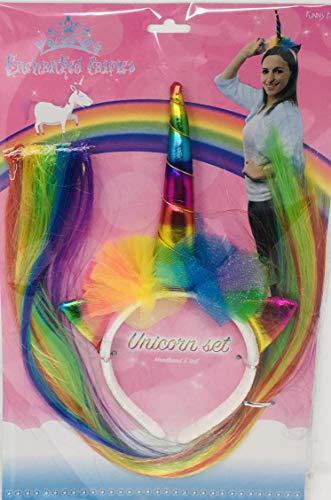 funny fashion - Juego de Diadema de Unicornio y Cola de arcoíris