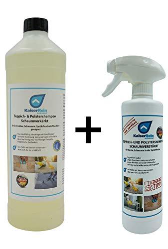 KaiserRein Teppichreiniger Polsterreiniger Textilreiniger flüssig Konzentrat 1L bis zu 8 L gebrauchsfertige Lösung Schaum Auto Textil Spray