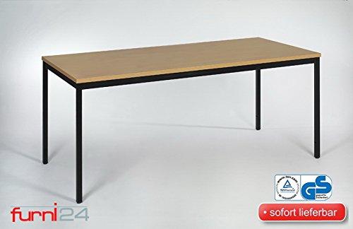 Furni 24 Beistelltisch Bürotsich Esstisch Konferenztisch Mehrzwecktisch Besuchertisch PC Tisch Schreibtisch Kantinentisch schwarz/Buche 200 cm x 80...