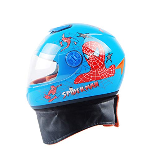 LIANGLIANG Kinder Verstellbarer Helm Winter Winddicht Warm Full CoverBib Integralhelm, Unisex, Spiderman