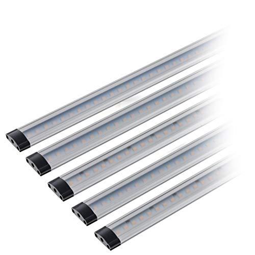 SEBSON LED Lichtleiste warmweiß, dimmbar (Touchfuktion), LED Leiste 30 cm, LED Unterbauleuchte 5er Set - 4 0 Aluminium-draht