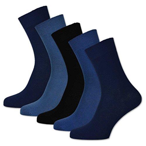 sockenkauf24 10 Paar Damen & Herren Socken 100% Baumwolle ohne Naht und ohne Gummidruck versch. Sortierungen (43-46, Jeans)