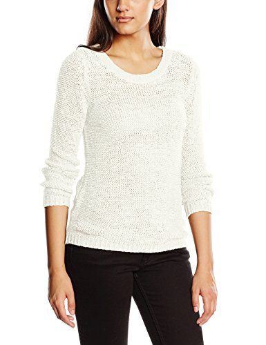 ONLY Damen Pullover onlGEENA XO L/S KNT NOOS, Einfarbig, Gr. 34 (Herstellergröße: XS), Weiß (Cloud Dancer) (Indigo Langarm Pullover)