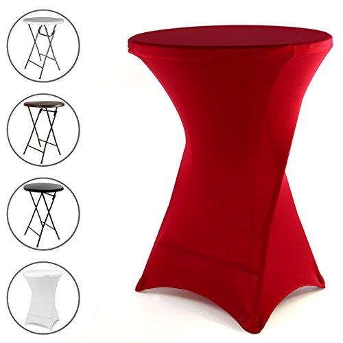 Nexos Husse für Stehtisch Stretch 80 x 80 x 110 cm rot Tischschutz Stoffbezug Tischhusse Garten Empfang Messe Feier Party dehnbar