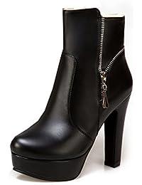 SHOWHOW Damen Retro Plateau Stiefelette Schnürsenkel Stiefel Mit Absatz Braun 37 EU