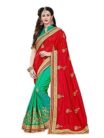 Manohari Women's Silk Saree with Blouse Piece(MN347_Red_Free Size)