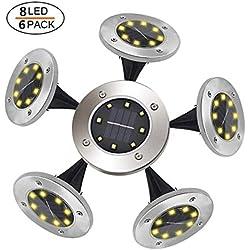 Geek Up 6Pcs 8Leds Luces Solares Para Exterior Jardin,100LM Luz Cálida IP65 Focos Led Exterior Solar Acero Inoxidable Luz De Jardin Lámparas Suelo Iluminación Para Decoración De Patio