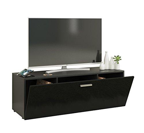 VCM Winalo 115 Meuble TV, Bois, Noir, 40 x 40 x 115 cm