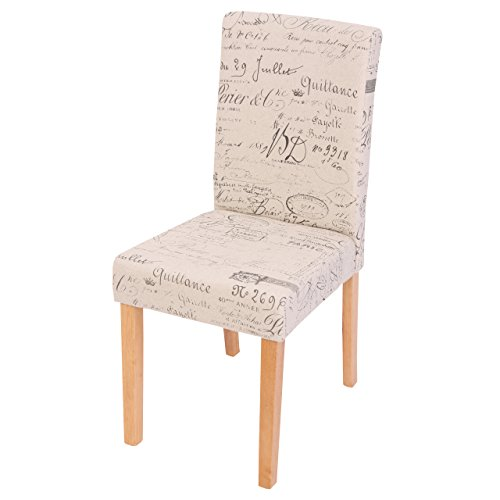 2x Esszimmerstuhl Stuhl Lehnstuhl Littau ~ Textil mit Schriftzug, creme, helle Beine