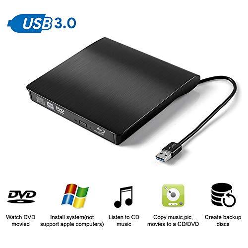 WMWHALE Externe DVD CD Laufwerk Bluray Player mit USB 3.0 Portable BD-ROM CD/DVD RW Brenner Recorder mit Drive Case Beuteltasche für Laptop,Black (Dual-tray Cd-recorder)