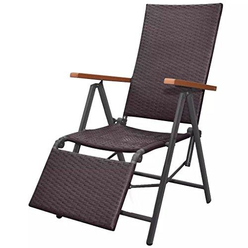 Festnight sedia a sdraio regolabile pieghevole portatile con poggiapiedi in polirattan nero/marrone 55x65x106 cm da giardino/balcone/patio per esterno