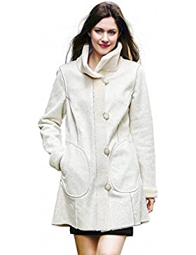 Adelaqueen Abrigo reversible en ante y piel sintéticos con estampado floral para mujer