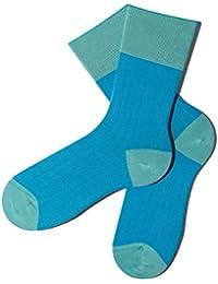 Bunte Socken - Rippenmuster - Ultramarine Green - GOTS zertifiziert - aus feinster Bio Baumwolle - Komfortbündchen