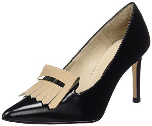 41ca4bF29JL - Hannibal Laguna Consta, Zapatos de Tacón Mujer, Multicolor (Danubio Negro/Charol Beige), 40