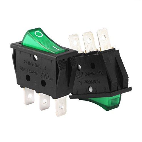 sourcingmap® AC 20A/125V 22A/250V SPST 3P 2 Position Green LED Light Boat Rocker Switch Test