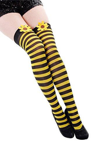 Fasching Strümpfe Overknee Kniestrümpfe Flotte Biene Hummel schwarz gelb gestreift Blume Z057 (Erwachsene Damen Kostüme Strümpfe)