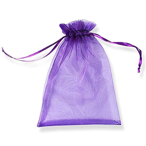 YFZYT Organza Taschen Net Garn Schmuckbeutel mit Vielfältig Farben ideal für Geschenk Hochzeit Süßigkeiten Säckchen Geeignet für Männer und Frauen, 100 Stück, 9 X 12 cm, Tief Lila