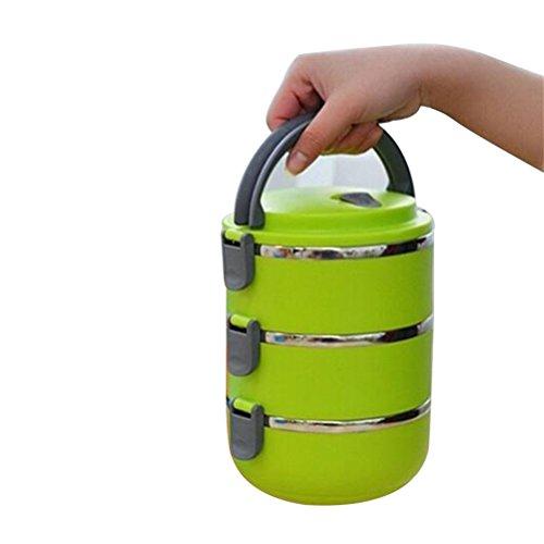 BESTOMZ Caja de almuerzo - Caja de almuerzo con aislamiento térmico de acero inoxidable Contenedor de comida con cierre de alimentos Cajas de almacenamiento de alimentos para niños Estudiantes (verde)