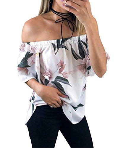 Haroty Damen Sommer Locker Comfort Fit Geblümt Off Shoulder Bluse Blumen Oberteil Carmen-Ausschnitt Bedruckte T-Shirt Geblümt Damenbluse (Weiß1, S)