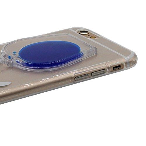 """Custodia Cover per iPhone 6 Plus / 6S Plus 5.5"""", Titolare Funzione, Mini-Tazza del Vino Modellismo Galleggiante Liquido Serie Colore Vari scegliere, Sottile / Trasparente Case Cover Blu"""