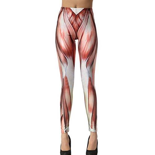 Frauen Muskel-Muster Thick Stretch Leggins Strumpfhosen Hosen Hosen