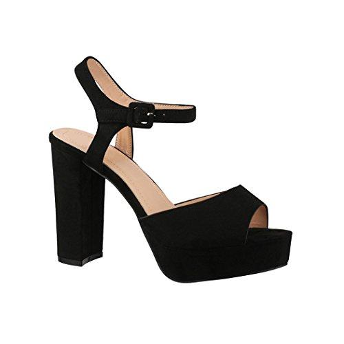 Elara Damen Pumps | Bequeme Peep-Toe Pumps | Trendige Plateau High Heels | Chunkyrayan AT0983 Black-39 Heel Peep Toe