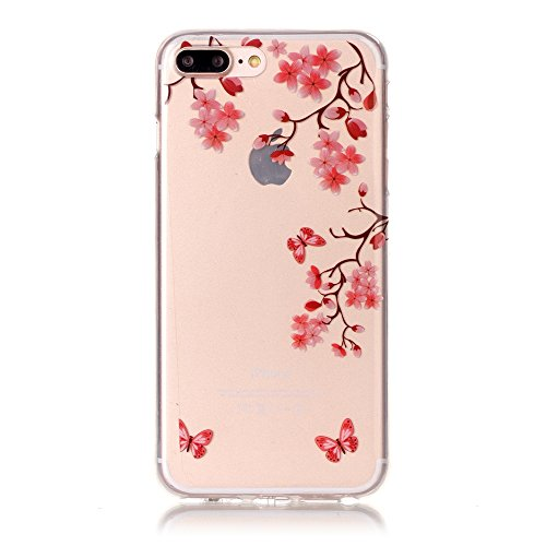 iPhone 7 Plus Hülle,SainCat iPhone 7 Plus Silikon Hülle Tasche Handyhülle Kirsche Muster [Campanula Feder] Schutzhülle Transparent TPU Gel Case Bumper Weiche Crystal Kirstall Clear Silikonhülle Durchs Rosa Blüten
