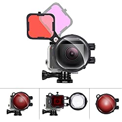 Fantaseal Pro Dive objectif 3 en 1 Ensemble de filtres pour caméra GoPro plongée sous-marine avec tuba objectif filtre Rouge + Magentafilter + 16 x Objectif macro