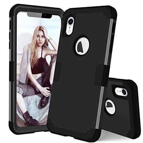�r iPhone XR (dreilagig, 3-in-1-Hybrid, Ultra Defender Harter PC und Weiches Silikon, robust, stoßdämpfend, für iPhone XR 15,1 cm / 15,1 Zoll) 2018, schwarz/schwarz ()