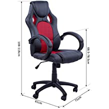 Silla de oficina racing gaming sillón de despacho color Rojo