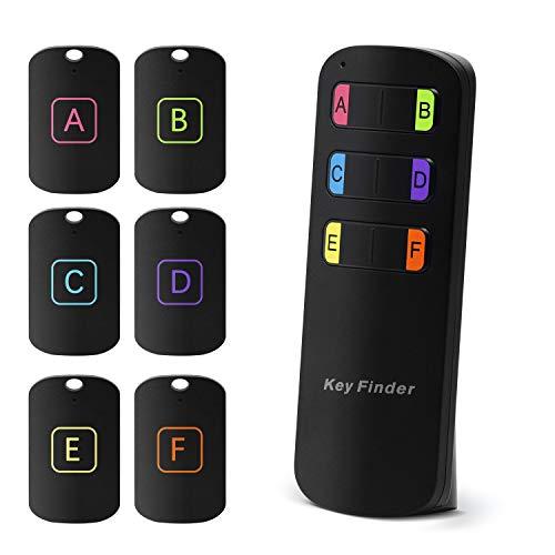 Yuanguo Schlüsselfinder Wireless Keyfinder mit mit 6 Empfängern Fernbedienung RF Item Locator mit LED Taschenlampe und 80 dB Alarm, Schlüssel Tracker für Haustiere, Geldbörse, Handy -