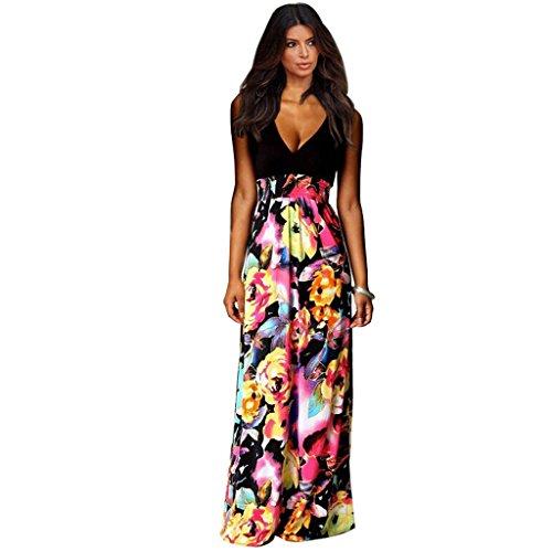 27d6aed283c Tasso Damen Sexy Strand Lang Maxi ärmellos Kleider Sommer Party Cocktail  Abend Träger Print Dress V