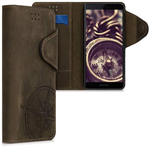 kalibri Sony Xperia XZ2 Compact Hülle - Leder Handyhülle für Sony Xperia XZ2 Compact - Handy Wallet Case Cover