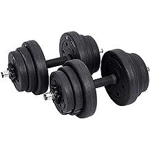 SONGMICS 20 kg Juego de Pesas Mancuernas de Fitness Ideal para Hombres Negro (20)
