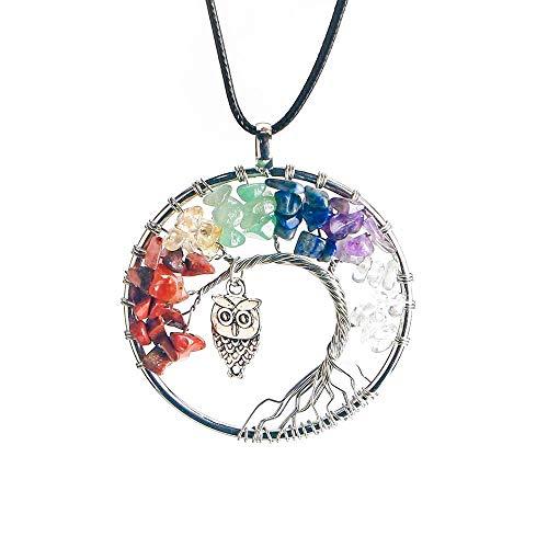 BellFan Lebensbaum Halskette, 7 Chakra Halskette mit Amethyst Stein Anhänger, Healing Chakra Stein Halskette für Reiki, Energie Heilung, Chakra Schmuck (Eule)