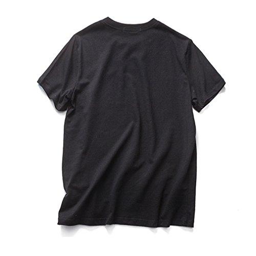 Honghu Herren Einfach kurze Ärmel T-shirt Schwarz