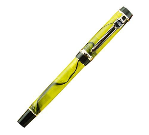 Lanxivi® Jinhao Century Fashion Yellow Color Black Line Celluloid Fountain Pen 18kgp Medium Nib with Pen Pouch