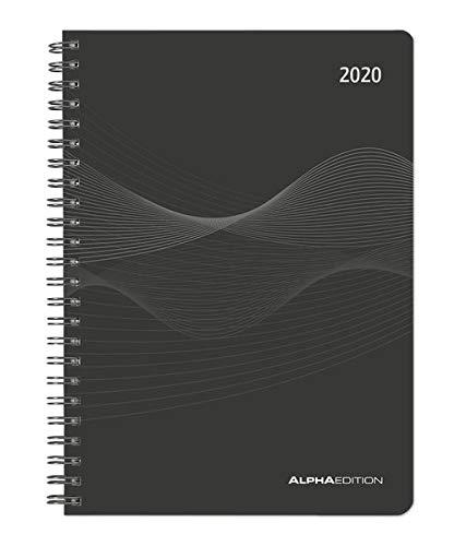 Wochenplaner PP-Einband schwarz 2020 - Bürokalender A5 - Cheftimer - Ringbindung - 1 Woche 2 Seiten - 128 Seiten - Terminplaner - Notizbuch - Ring Timer