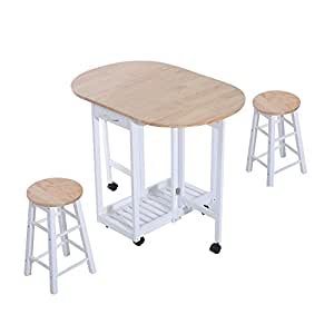 HOMCOM 3PC Wooden Kitchen Cart Mobile Rolling Trolley Folding Bar Table Two Stools Dining Chair Storage Shelf w/ 2 Drawers & 6 Wheels