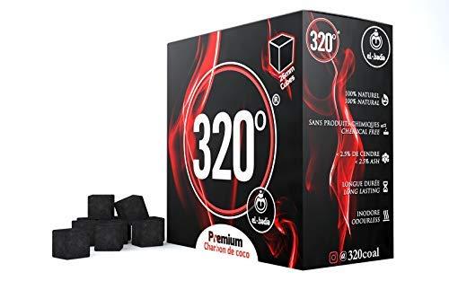 320° Premium Kokosnusskohle (26mm Würfel) für Shisha Shisha Shisha & BBQ 4 kg - 256 Stück [Shisha Kohle]