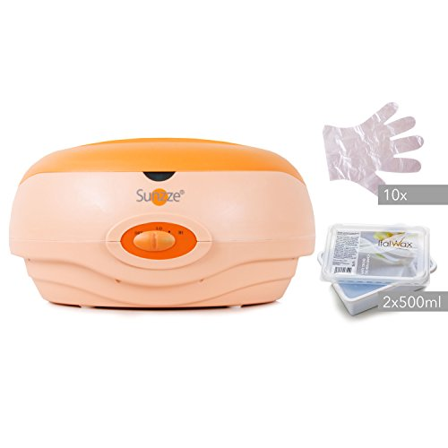 Sunzze Paraffin-Bad Komplett-Set mit Paraffin-Erhitzer, 1l Paraffinwachs, Plastikhandschuhe. Fördert die Durchblutung, macht die Hände und Füße weich und geschmeidig (Orchidee)