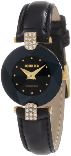 Jowissa Facet Strass Women's Quartz Watch with Black Dial Analogue Display and Black Leather Strap J5.007.S