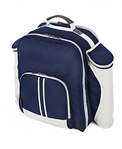Greenfield Collection Super Deluxe Zaino da picnic per due persone in blu navy con coperta da picnic Navy Blue
