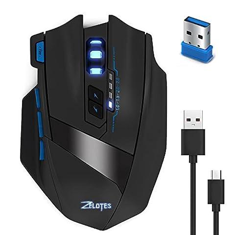 Maus Schnurlos KingTop 2.4G Wireless und Wired Mouse Optisch Kabellos Maus 2500 DPI Wiederaufladbare Batterien PC Laptop Notebook