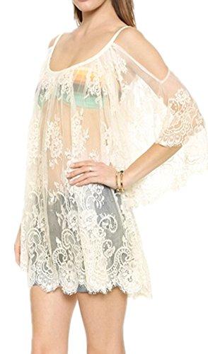 Monissy Sling Sunscreen Dentelle Courtes Clairvoyant Robe?Blouse Sexy Style Décontracté Blanc