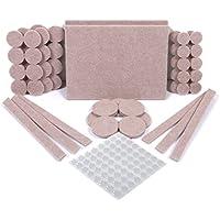 simala Premium muebles almohadillas, 124unidades–60Heavy Duty Auto Stick muebles almohadillas de fieltro para suelos de madera & 64claro almohadillas de goma de amortiguación de ruido